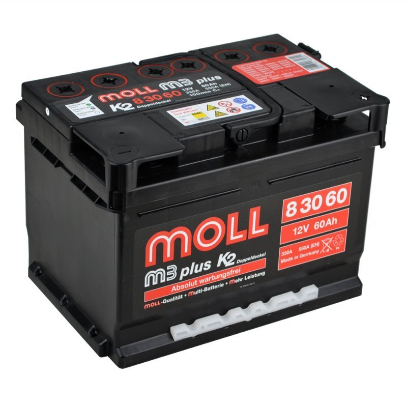 Moll m3 Plus K2 83060 60Ah 12V Autobatterie Starterbatterie