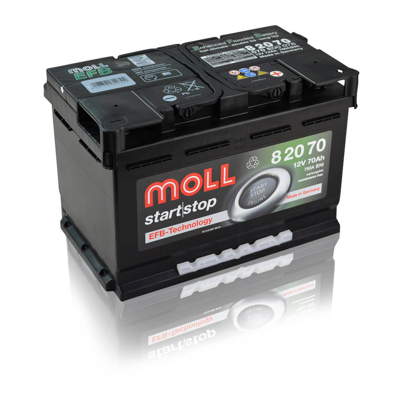 moll start stop batterie 12v 70ah 760a autobatterien g. Black Bedroom Furniture Sets. Home Design Ideas
