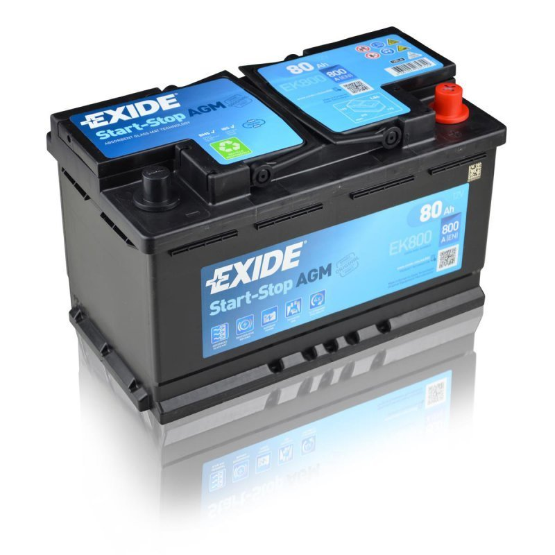 exide batterie agm 12v 80ah 800a autobatterien g. Black Bedroom Furniture Sets. Home Design Ideas